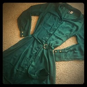 H&M green belted button down dress.